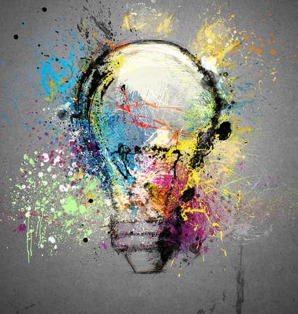 kavram: Parlak bir fikir Ampul ışığı simgesi Stok Fotoğraf