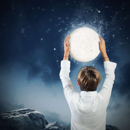 attain: Child wants get to take the moon
