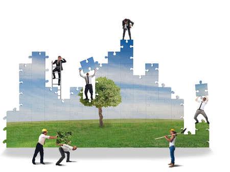 personas reunidas: Trabajar juntos para construir un mundo limpio