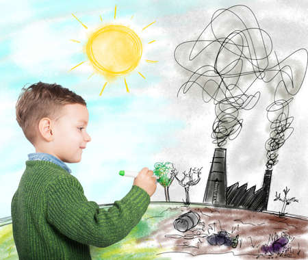ecology  environment: Child draws a future in better world