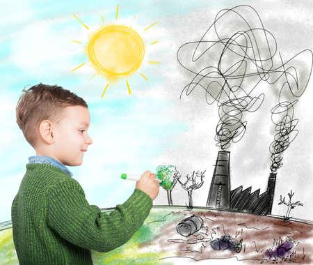 contaminacion ambiental: El niño drena un futuro en el mundo mejor Foto de archivo