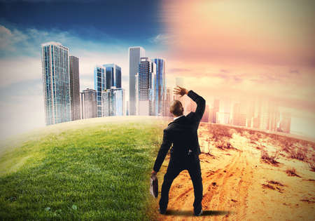 civilization: Global warming and the end of civilization Stock Photo