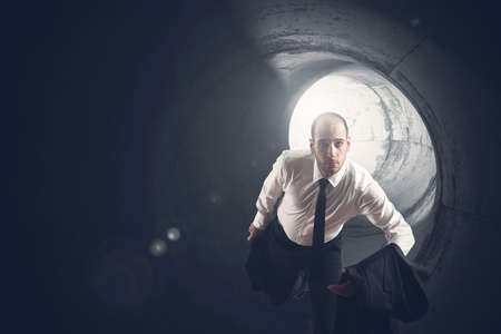 difficult task: Businessman take a shortcut as a strategy