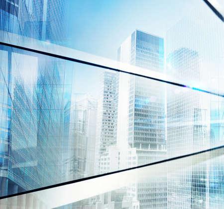 reflect: Reflect of construction of future city background Stock Photo