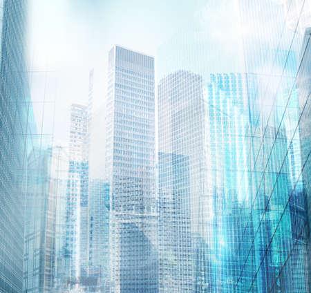 Zicht op de bouw architectonische moderne stad achtergrond Stockfoto
