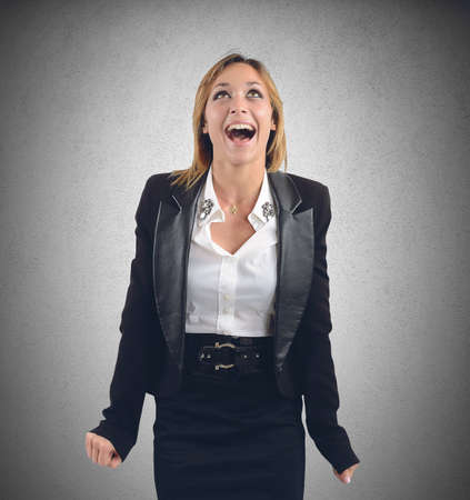 woman shouting: Receive news work and scream for happiness
