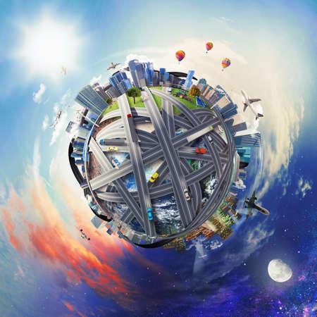 Volledige wereld van transport en handel het bedrijfsleven