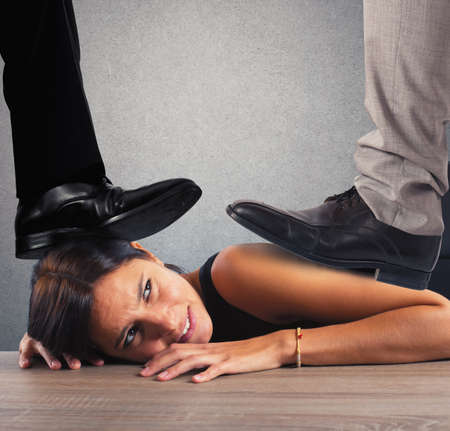 humiliation: Businesswoman exploited by her boss in office