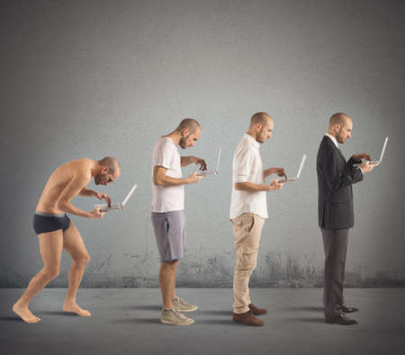 Evolution from hunched man to successful man