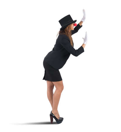 stupor: Funny business woman playing at the mime