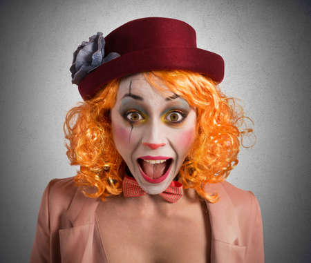 Clown makes funny faces to make laugh