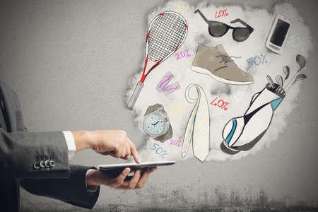 divat: Vásárolni az interneten on-line vásárlás Stock fotó