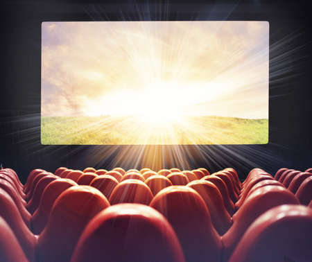 funny movies: Entertainment of projection film at the cinema Stock Photo