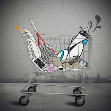 obtain: Shopping cart full of purchases and tenders Stock Photo