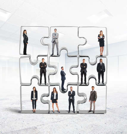 merging together: Cooperation and integration for a successful team Stock Photo
