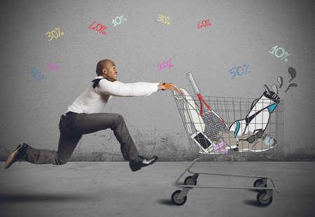 Ejecutar para ir de compras en busca de ofertas Foto de archivo - 38266821