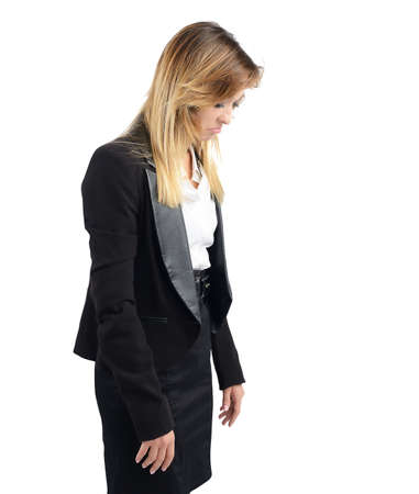 accuse: Businesswoman sad and stressed from her job