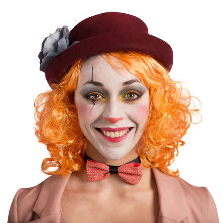 circus: Beautiful vintage woman clown smiling and extravagant