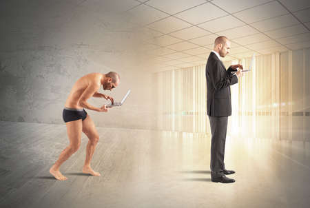 poor man: Evolution of businessman with technology and knowledge