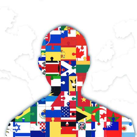 oneness: Individuale con diverse bandiere simbolo di integrazione