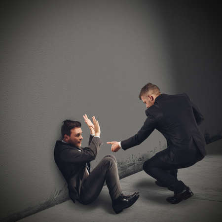 wimp: Help a colleague in trouble and scared Stock Photo