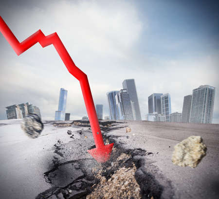 Crisis as big break economic and financial Stockfoto