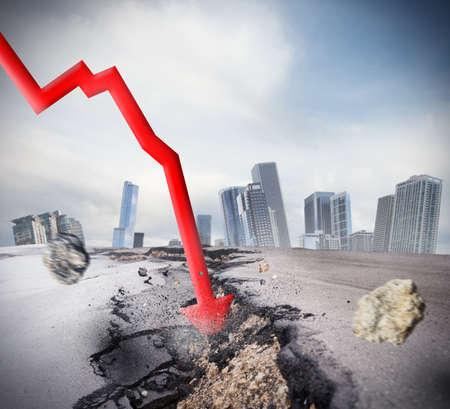 Crisis as big break economic and financial Standard-Bild