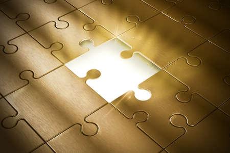 成功のパズルの行方不明の部分 写真素材