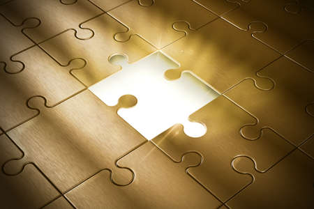 merging together: Missing piece of the puzzle of success Stock Photo