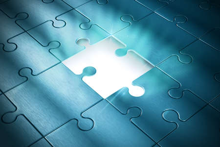 Missing piece of the puzzle of success Stock Photo
