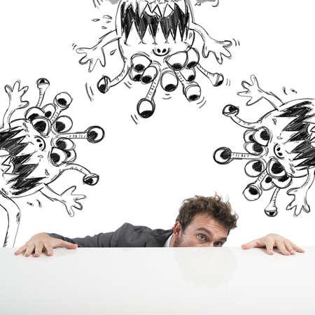 Hombre esconde temerosos del virus de la gripe