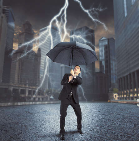 repaired: Businessman is repaired by thunder and lightning