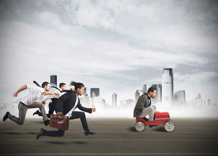 Businesspeople competing in a race for career
