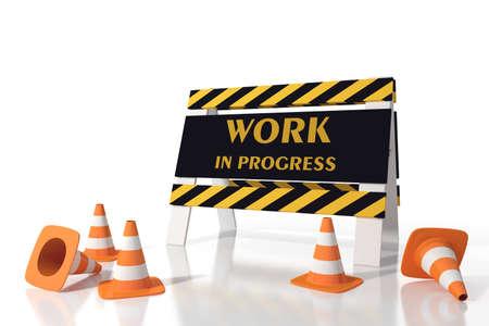 provisional: El trabajo en progreso en un sitio de carretera