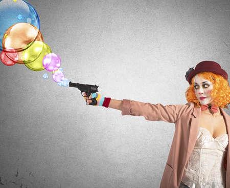 recite: Clown thief shoots bubbles from her gun