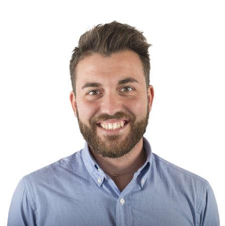caras de emociones: Sencillo joven rostro sonriente y optimista Foto de archivo