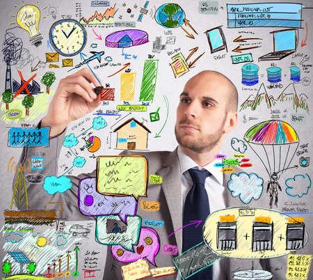 Businessman design an ingenious ecological improvement plan 스톡 콘텐츠