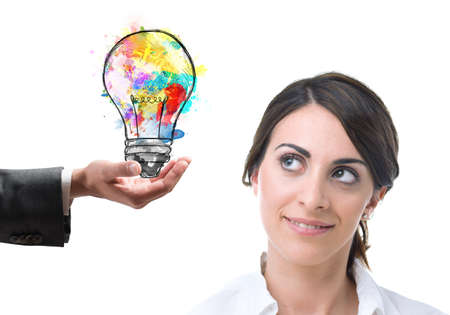 suggests: Colleague at work suggests a bright idea