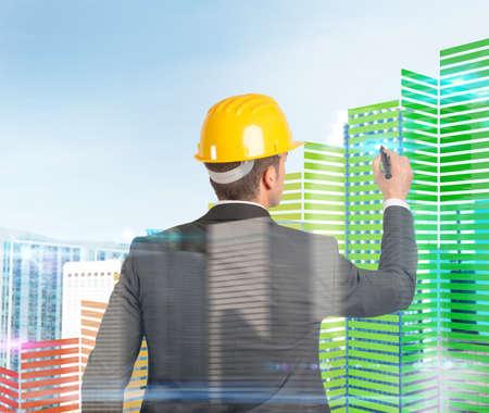Architect ontwerpt en bouwt paleizen in 3d Stockfoto