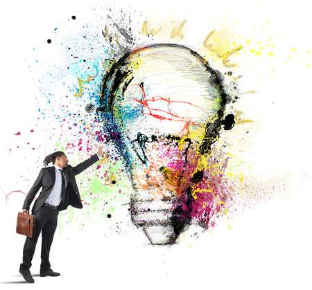 Businessman has great inspiration to creative ideas photo