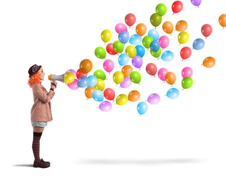 payaso: Payaso gritos divertidos y creativos globos coloridos Foto de archivo