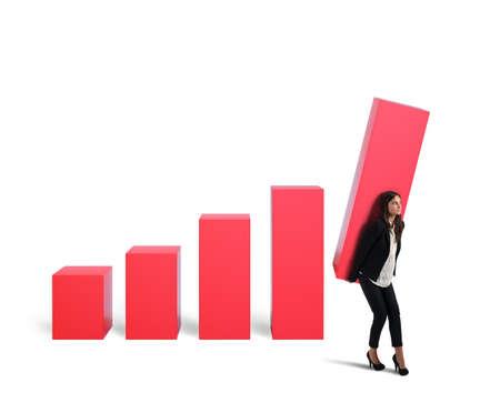 raise: Businesswoman struggling attempts to raise the profit Stock Photo