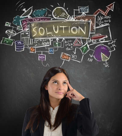 financial questions: Businesswoman thinking about a plan working solution Stock Photo