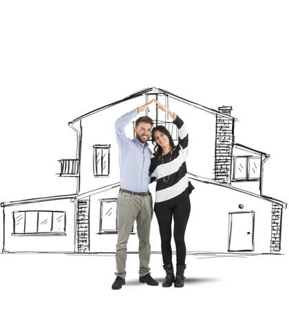home planning: Happy couple in love planning a home