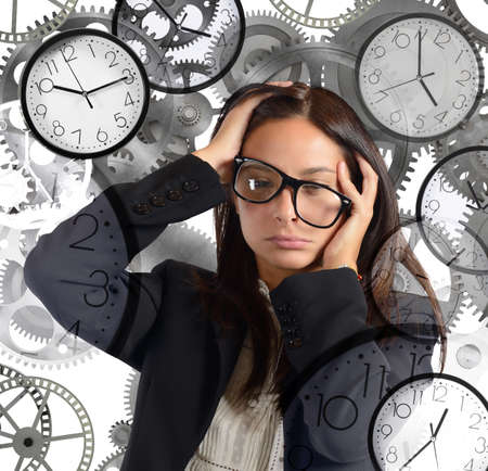 Businesswoman overload appointments and with little time Stock Photo