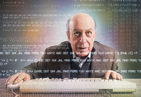 nerd: Elderly hacker nerd makes an antivirus test