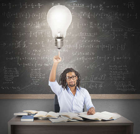 and brilliant: Teacher has a brilliant and smart idea Stock Photo