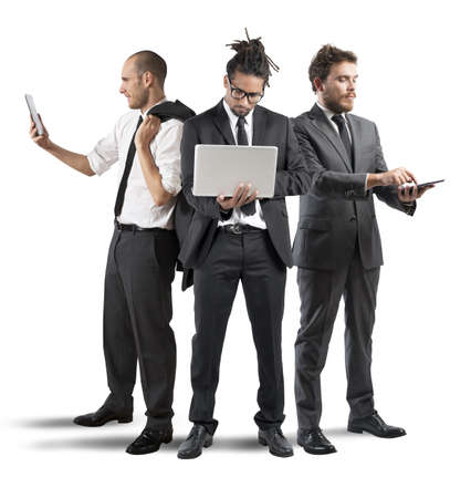telephone together: Business people very busy in a company Stock Photo