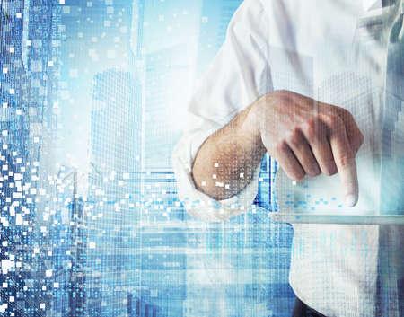 technologia: Prace biznesmen i wzorów z futurystycznej technologii