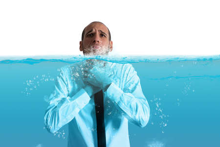 debt trap: Businessman with the water in the throat